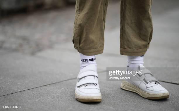 Olja Ryzevski wearing Jumpsuit Iro Paris Socks Vetements x Reebok via @matchesfashion shoes Acne Studios on March 19 2019 in Berlin Germany