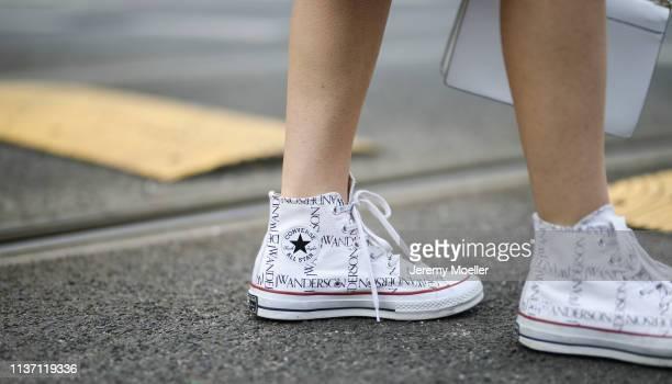 Olja Ryzevski wearing shoes JW Anderson x Converse on March 19 2019 in Berlin Germany