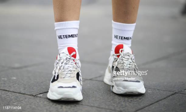 Olja Ryzevski wearing Socks Vetements x Reebok Shoes Iro Paris on March 19 2019 in Berlin Germany