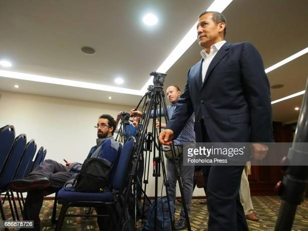 Ollanta Humala former president walking to give a press conference to foreign correspondents accredited in Peru in which he denied having taken funds...