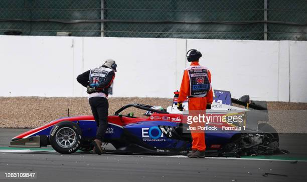 Olli Caldwell of Great Britain and Trident sits in his car after a crash during race one of the Formula 3 Championship at Silverstone on August 01,...