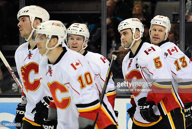 Olli Jokinen Alex Tanguay Blake Comeau Mark Giordano and Scott Hannan of the Calgary Flames celebrate after Jokinen scored his third goal of the...