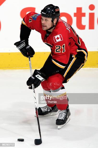 Olli Jokinen of the Calgary Flames skates against the Chicago Blackhawks during Game Four of the Western Conference Quarterfinal Round of the 2009...