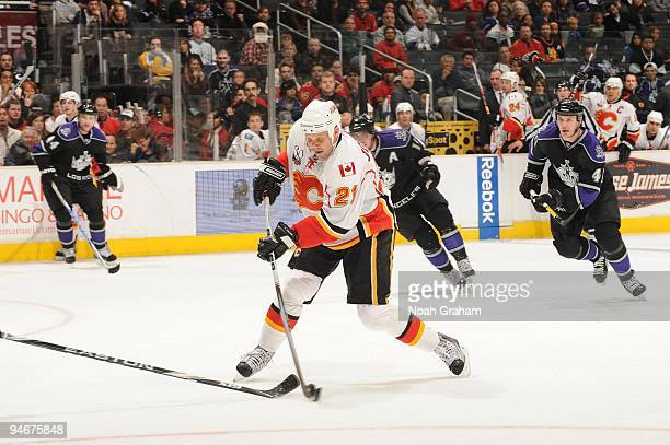 Olli Jokinen of the Calgary Flames skates with the puck against the Los Angeles Kings at Staples Center on November 21, 2009 in Los Angeles,...