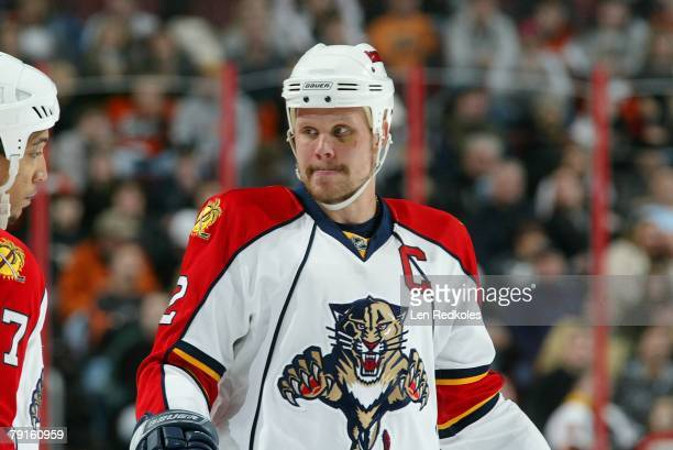 Olli Jokinen of the Florida Panthers looks on in a NHL game against the Philadelphia Flyers on January 16, 2008 at the Wachovia Center in...