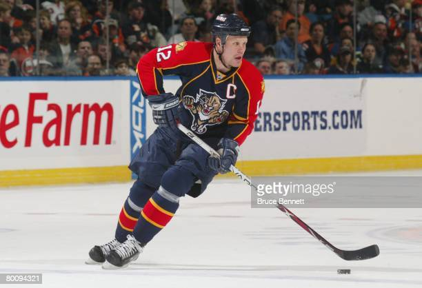 Olli Jokinen of the Florida Panthers skates against the New York Islanders on March 2, 2008 at the Nassau Coliseum in Uniondale, New York. The...