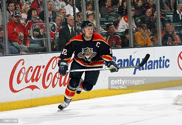 Olli Jokinen of the Florida Panthers skates against the Ottawa Senators at Bank Atlantic Center on March 22 2007 in Sunrise Florida The Senators...
