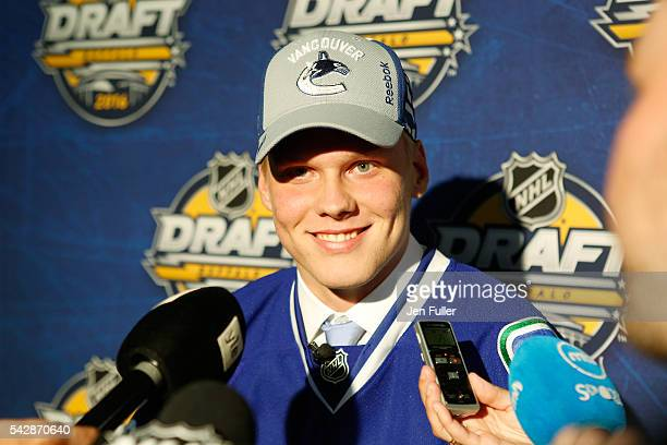 Olli Juolevi gives an interview after being selected fifth overall during round one of the 2016 NHL Draft on June 24 2016 in Buffalo New York