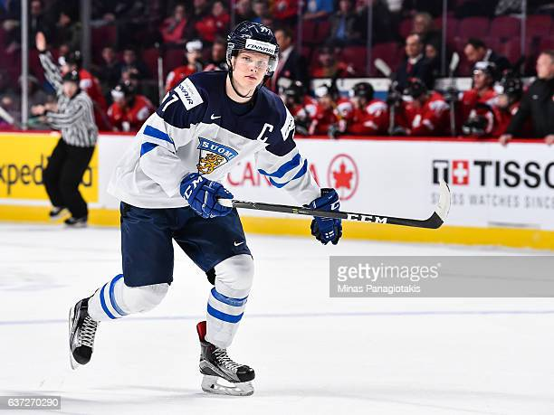 Olli Juolevi of Team Finland skates during the 2017 IIHF World Junior Championship preliminary round game against Team Switzerland at the Bell Centre...