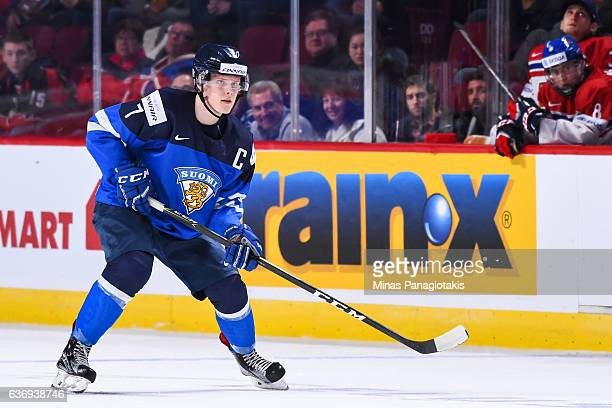 Olli Juolevi of Team Finland skates during the IIHF World Junior Championship preliminary round game against Team Czech Republic at the Bell Centre...
