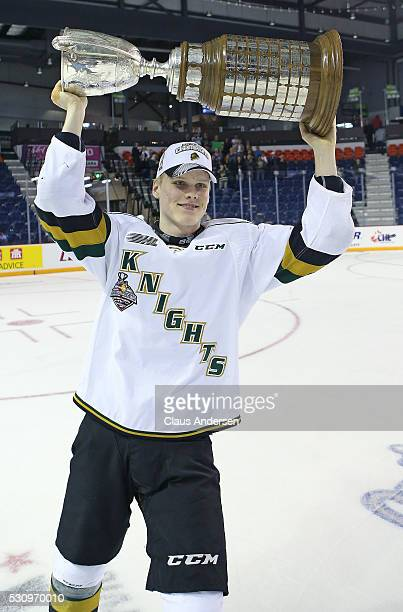 Olli Juolevi of the London Knights celebrates victory against the Niagara IceDogs in Game Four of the OHL Championship final for the JRoss Robertson...
