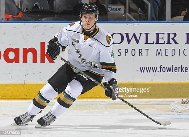 Olli Juolevi of the London Knights skates against the Guelph Storm during an OHL game at Budweiser Gardens on November 13 2015 in London Ontario...