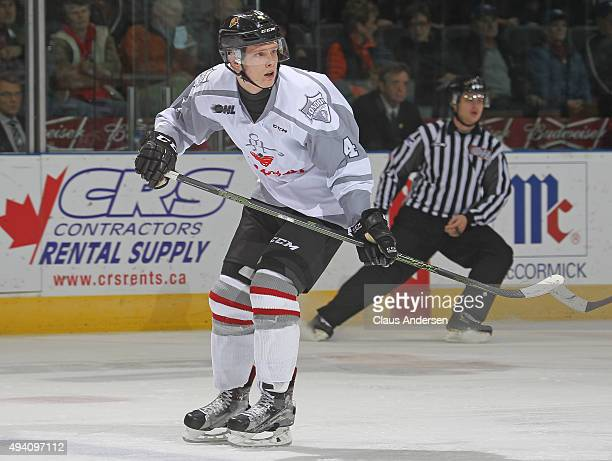 Olli Juolevi of the London Knights skates against the Owen Sound Attack during an OHL game at Budweiser Gardens on October 23 2015 in London Ontario...
