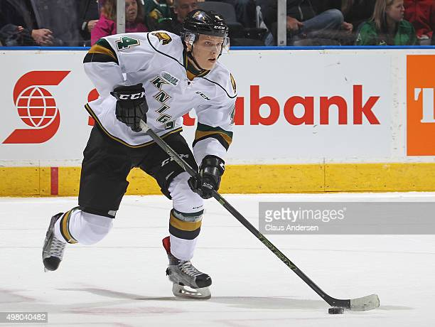 Olli Juolevi of the London Knights skates with the puck against the Oshawa Generals during an OHL game at Budweiser Gardens on November 19 2015 in...