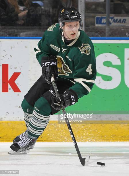 Olli Juolevi of the London Knights skates with the puck against the Erie Otters in Game Six of the OHL Western Conference SemiFinal on April 16 2017...
