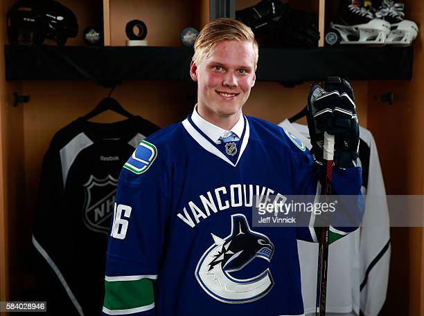 Olli Juolevi selected fifth overall by the Vancouver Canucks poses for a portait during round one of the 2016 NHL Draft at First Niagara Center on...