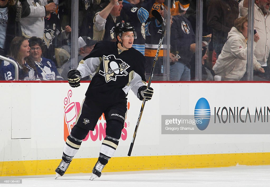 Olli Maatta #3 of the Pittsburgh Penguins celebrates his goal during the first period against the Toronto Maple Leafs at Consol Energy Center on October 17, 2015 in Pittsburgh, Pennsylvania.