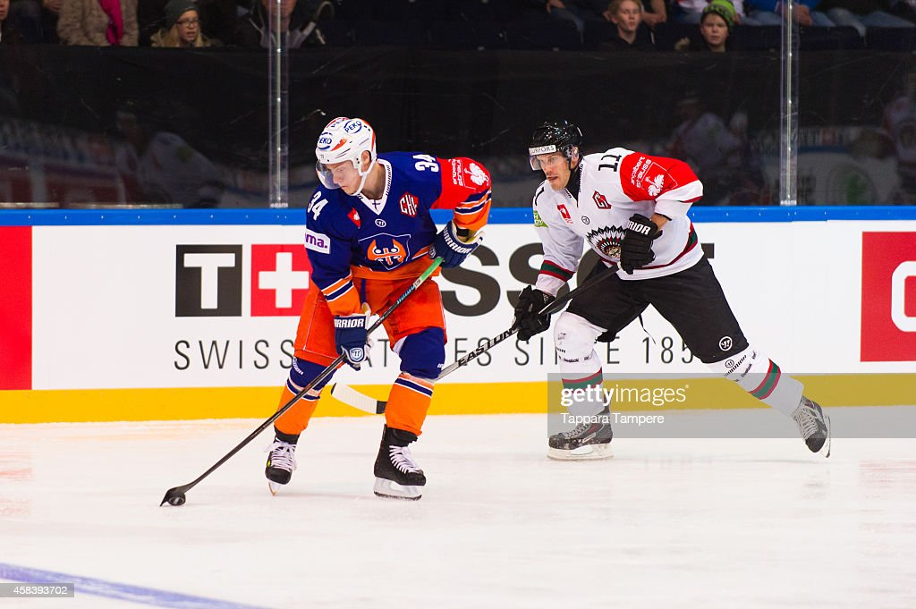 Olli Palola of Tappara Tampere during the Champions Hockey League round of 16 first leg game between Tappara Tampere and Frolunda Gothenburg at Hakametsa on November 4, 2014 in Tampere, Finland.