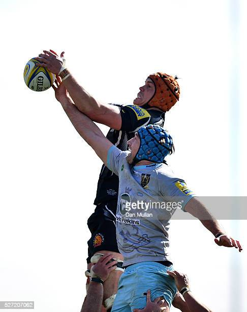 Ollie Atkins of Exeter Braves competes at the lineout against Michael Paterson of Northampton Wanderers during the Aviva Premiership A League Final...