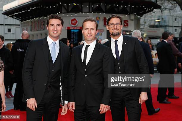"""Ollie Baines, Stephen Bowman and Humphrey Berney arrives for the UK film premiere Of """"Florence Foster Jenkins"""" at Odeon Leicester Square on April 12,..."""