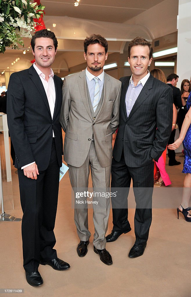 Ollie Baines, Stephen Bowman and Humphrey Berney attend the Masterpiece Midsummer Party in aid of Marie Curie at The Royal Hospital Chelsea on July 2, 2013 in London, England.