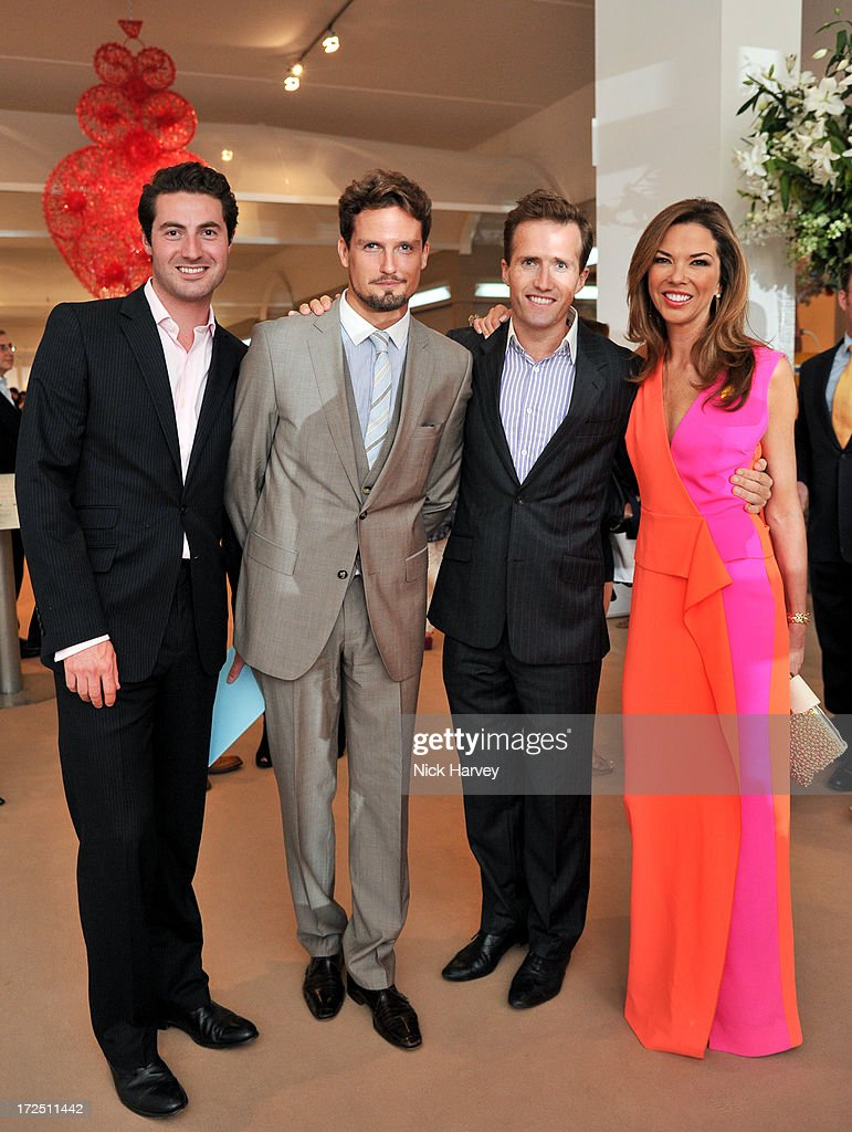 Ollie Baines, Stephen Bowman, Humphrey Berney and Heather Kerzner attend the Masterpiece Midsummer Party in aid of Marie Curie at The Royal Hospital Chelsea on July 2, 2013 in London, England.