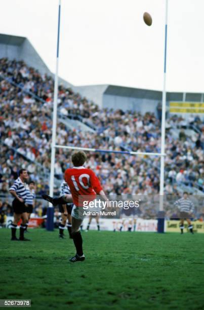 Ollie Campbell of the Lions kicks at goal during the tour match between Western Province and the British Lions at Newlands on July 5, 1980 in...