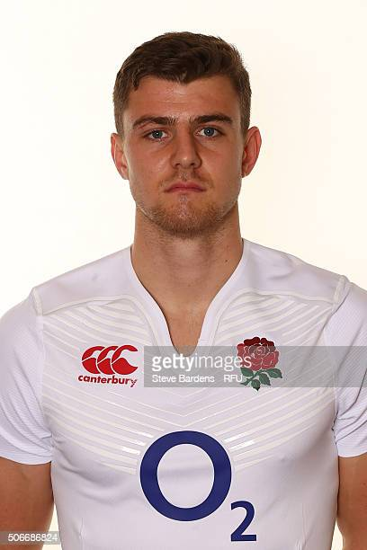 Ollie Devoto poses during the England EPS Six Nations Squad Portrait session at Pennyhill Park on January 25 2016 in Bagshot England
