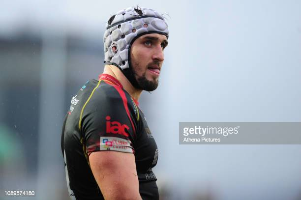 Ollie Griffiths of Dragons during the Guinness Pro14 Round 14 match between the Dragons and Munster Rugby at Rodney Parade on January 26 2019 in...