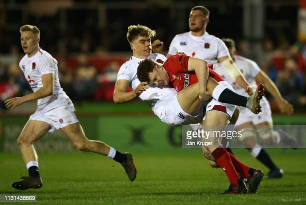 Ollie HassellCollins of England is tackled by Aneurin Owen of Wales during the Under 20 Six Nations Championships match between Wales U20 and England...