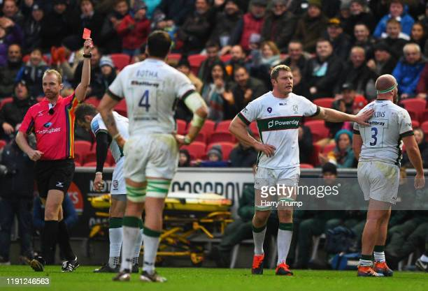 Ollie Hoskins of London Irish is shown a red card by Match Referee Wayne Barnes during the Gallagher Premiership Rugby match between Bristol Bears...