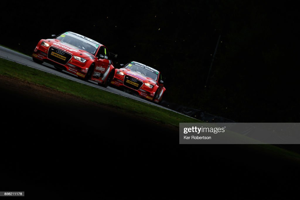 Ollie Jackson of AmDtuning Audi leads from team mate Ant Whorton-Eales during race one of the British Touring Car Championship finale at Brands Hatch on October 1, 2017 in Longfield, England.
