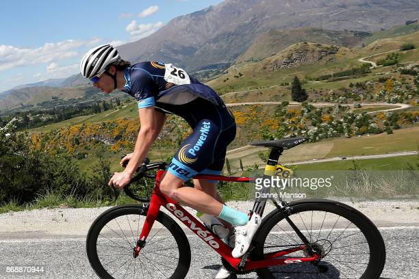 Ollie Jones of Christchurch Powernet makes the climb to Coronet Peak during stage 3 from Mossburn to Coronet Peak during the 2017 Tour of Southland...