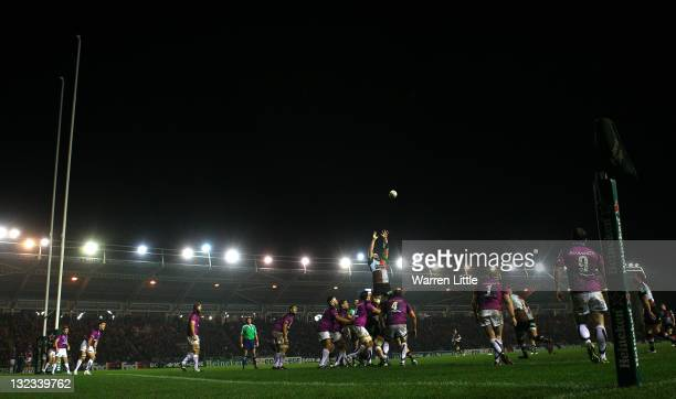 Ollie Kohn of Harlequins wins the line out ball during the Heineken Cup match between Harlequins and Connacht Rugby at Twickenham Stoop on November...