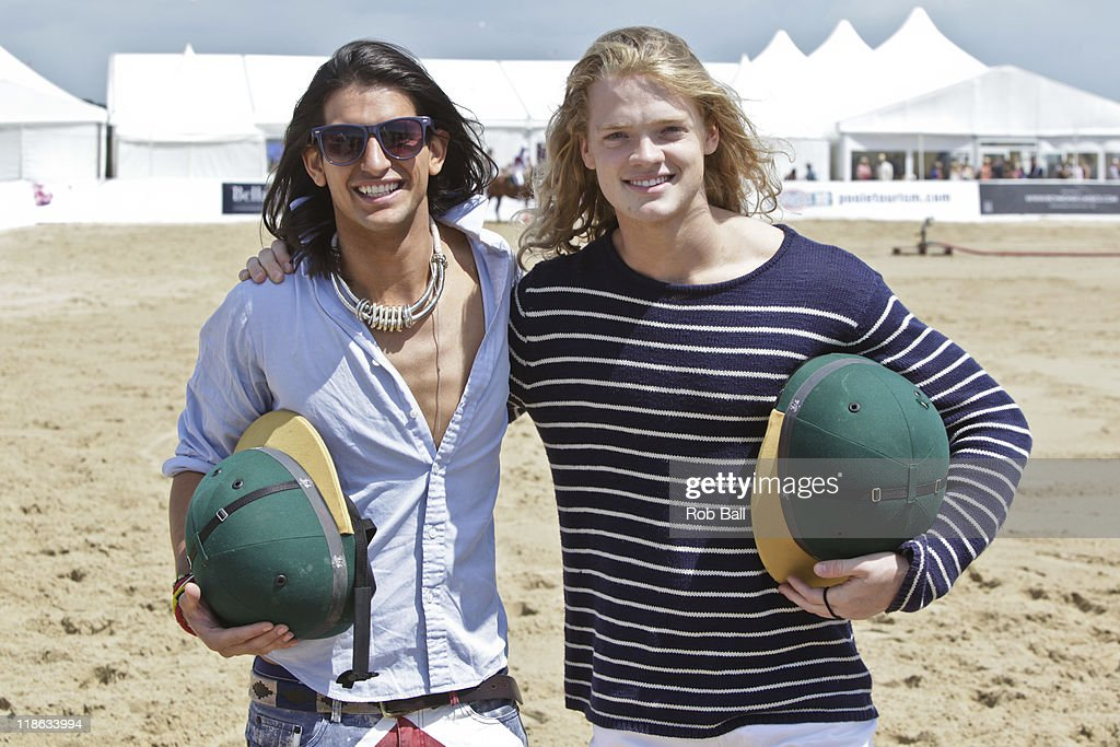 Ollie Locke and Fredrik Ferrier from Made in Chelsea attend the British Beach Polo Championships at Sandbanks Beach on July 9, 2011 in Poole, England.