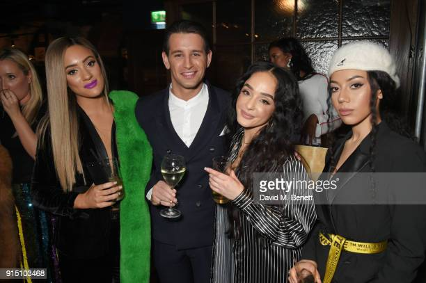 Ollie Locke poses with Annie Ashcroft Chanal Benjilali and Nadine Samuels of MO at the InStyle EE Rising Star Party at Granary Square on February 6...
