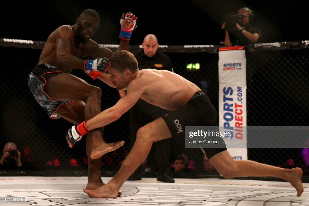 Ollie Mathis of England takes down Nathan Jones of England during BAMMA 31 at SSE Arena Wembley on September 15, 2017 in London, England.
