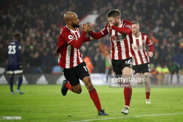 Ollie Norwood of Sheffield United celebrates after scoring his team's first goal from the penalty spot with David McGoldrick of Sheffield United...