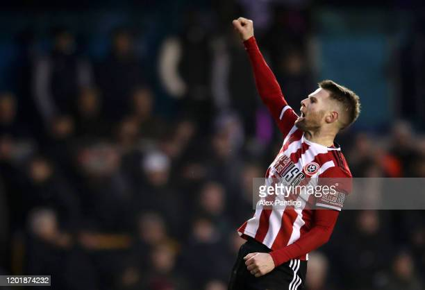 Ollie Norwood of Sheffield United celebrates after scoring his team's second goal during the FA Cup Fourth Round match between Millwall FC and...