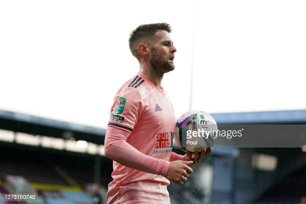 Ollie Norwood of Sheffield United looks on during the Carabao Cup second round match between Burnley and Sheffield United at Turf Moor on September...