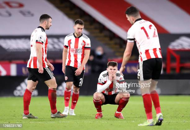 Ollie Norwood of Sheffield United reacts at full time during the Premier League match between Sheffield United and Everton at Bramall Lane on...
