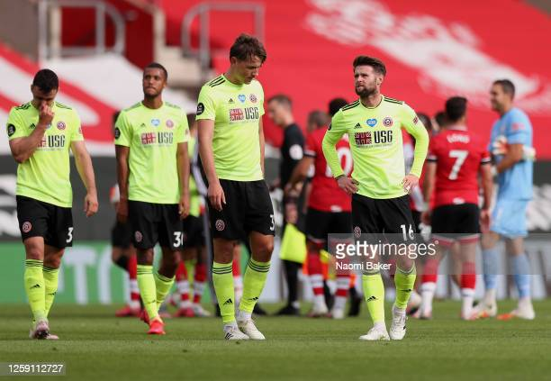 Ollie Norwood of Sheffield United reacts following the Premier League match between Southampton FC and Sheffield United at St Mary's Stadium on July...