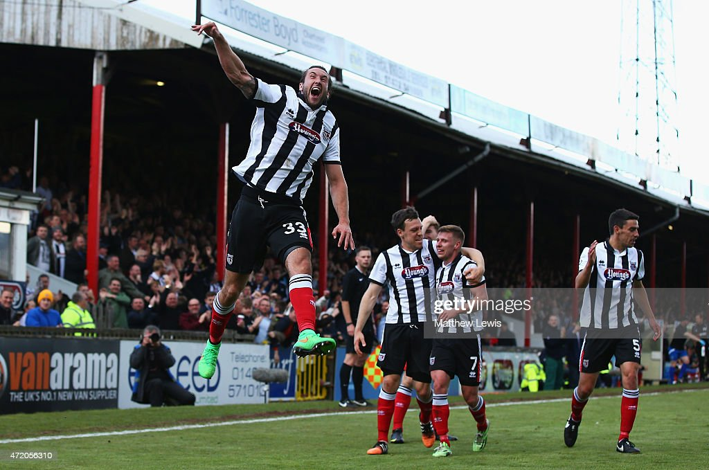 Ollie Palmer of Grimsby Town celebrates his second goal during the Vanarama Football Conference League match between Grimsby Town and Eastleigh FC at Blundell Park on May 3, 2015 in Grimsby, England.