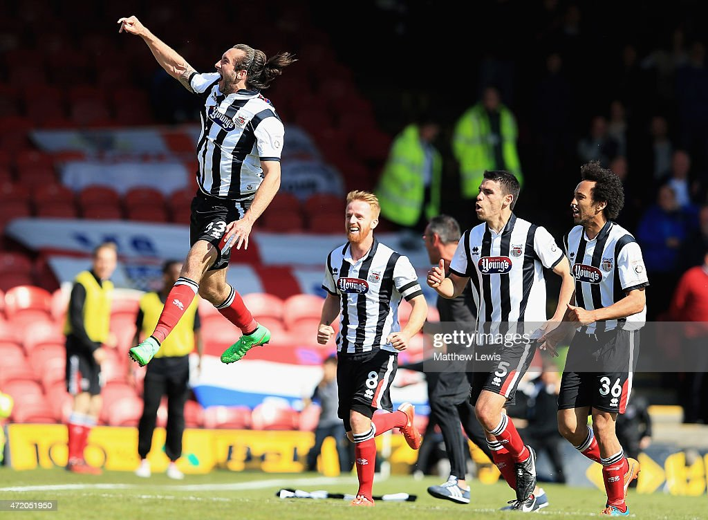 Ollie Palmer of Grimsby Town celebrates scoring a goal during the Vanarama Football Conference League match between Grimsby Town and Eastleigh FC at Blundell Park on May 3, 2015 in Grimsby, England.