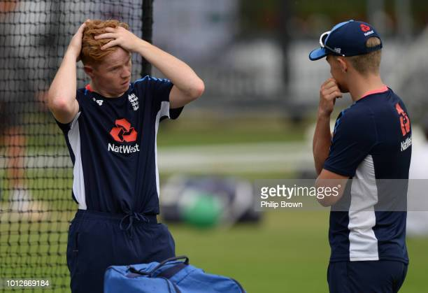 Ollie Pope and Sam Curran look on during a training session before the 2nd Specsavers Test Match between England and India at Lord's Cricket Ground...