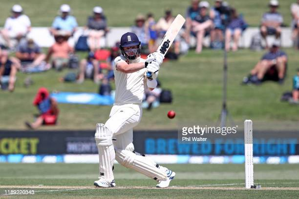 Ollie Pope of England bats during day two of the first Test match between New Zealand and England at Bay Oval on November 22 2019 in Mount Maunganui...