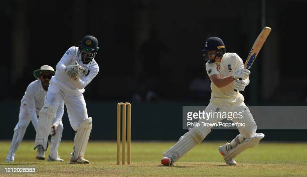 Ollie Pope of England bats during the first day of the match between a Sri Lanka Board President's XI and England at P Sara Oval on March 12 2020 in...
