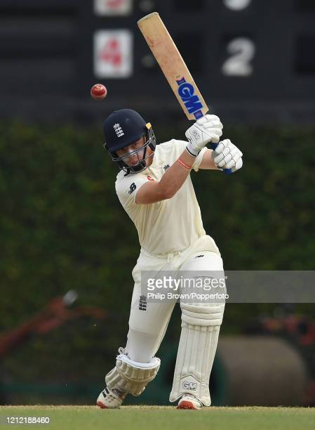 Ollie Pope of England bats during the second day of the match against a Sri Lanka Board President's XI before the Test series against Sri Lanka was...