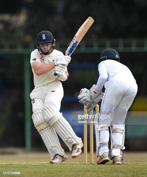 Ollie Pope of England bats during the tour match between SLC Board President's XI and England at P Sara Oval on March 13 2020 in Colombo Sri Lanka