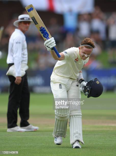 Ollie Pope of England celebrates his maiden Test century during Day Two of the Third Test between South Africa and England at St George's Park on...